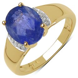 14K Yellow Gold Plated 2.86 Carat Genuine White Diamond & Tanzanite .925 Streling Silver Ring