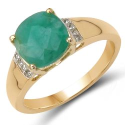 14K Yellow Gold Plated 2.24 Carat Genuine Emerald & White Topaz .925 Sterling Silver Ring