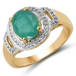 14K Yellow Gold Plated 2.03 Carat Genuine Emerald & White Topaz .925 Sterling Silver Ring