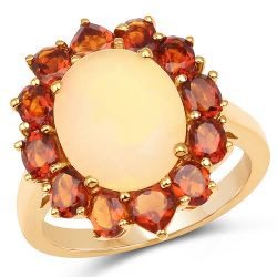 14K Yellow Gold Plated 4.60 Carat Genuine Ethiopian Opal & Madeira Citrine .925 Sterling Silver Ring