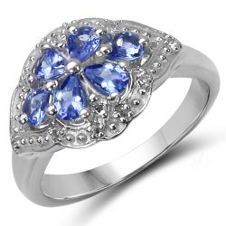 0.93 Carat Genuine Tanzanite & White Topaz .925 Sterling Silver Ring