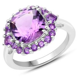 4.23 Carat Genuine Amethyst .925 Sterling Silver Ring