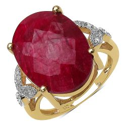 14K Yellow Gold Plated 12.24 Carat Genuine Ruby & White Topaz .925 Streling Silver Ring
