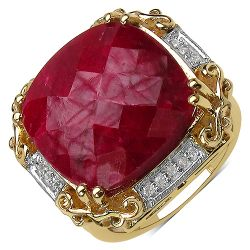 14K Yellow Gold Plated 17.43 Carat Genuine Ruby & White Topaz .925 Streling Silver Ring