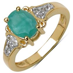 14K Yellow Gold Plated 1.24 Carat Genuine Emerald & White Topaz .925 Streling Silver Ring