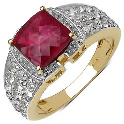 14K Yellow Gold Plated 4.08 Carat Genuine Ruby & White Topaz .925 Streling Silver Ring