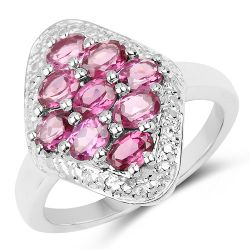 1.89 Carat Genuine Rhodolite .925 Sterling Silver Ring