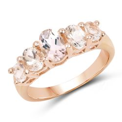 14K Rose Gold Plated 1.25 Carat Genuine Morganite .925 Sterling Silver Ring
