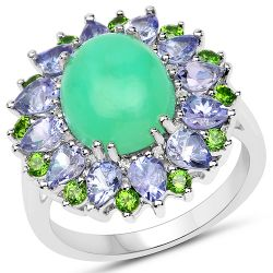 6.49 Carat Genuine Multi Stones .925 Sterling Silver Ring