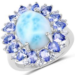 7.02 Carat Genuine Larimar, Tanzanite & White Topaz .925 Sterling Silver Ring