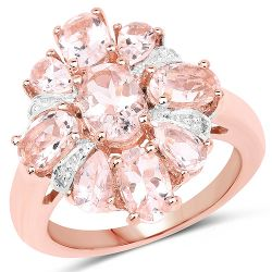 14K Rose Gold Plated 3.28 Carat Genuine Morganite and White Topaz .925 Sterling Silver Ring