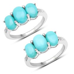 2.97 Carat Genuine Turquoise and White Zircon .925 Sterling Silver Ring