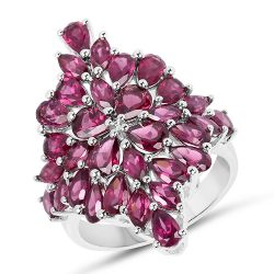 7.52 Carat Genuine Rhodolite .925 Sterling Silver Ring Ring
