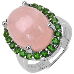 10.80 Carat Genuine Morganite & Chrome Diopside .925 Streling Silver Ring