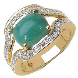 14K Yellow Gold Plated 2.97 Carat Genuine Emerald & White Topaz .925 Streling Silver Ring