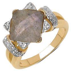 14K Yellow Gold Plated 3.32 Carat Genuine Labradorite & White Topaz .925 Streling Silver Ring