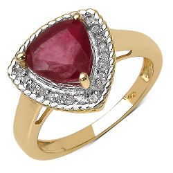 14K Yellow Gold Plated 4.03 Carat Genuine Ruby  .925 Sterling Silver Ring