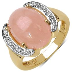 14K Yellow Gold Plated 7.70 Carat Genuine Morganite & White Topaz .925 Streling Silver Ring