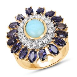 14K Yellow Gold Plated 6.48 Carat Genuine Larimar, Iolite and White Topaz .925 Sterling Silver Ring