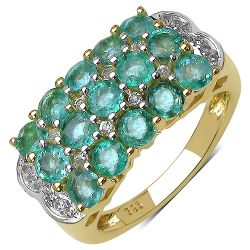 14K Yellow Gold Plated 2.44 Carat Genuine Emerald & White Topaz .925 Streling Silver Ring