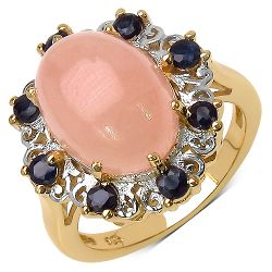 14K Yellow Gold Plated 8.37 Carat Genuine Morganite & Blue Sapphire .925 Streling Silver Ring