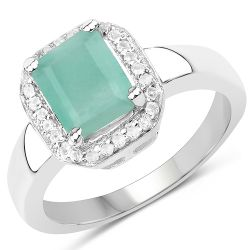 1.73 Carat Genuine Emerald & White Topaz .925 Sterling Silver Ring