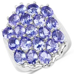 6.27 Carat Genuine Tanzanite .925 Sterling Silver Ring Ring