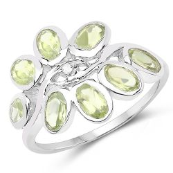 1.86 Carat Genuine Peridot and White Topaz .925 Sterling Silver Ring