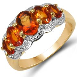 14K Yellow Gold Plated 2.20 Carat Genuine Citrine .925 Sterling Silver Ring