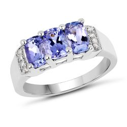1.63 Carat Genuine Tanzanite & White Diamond .925 Sterling Silver Ring
