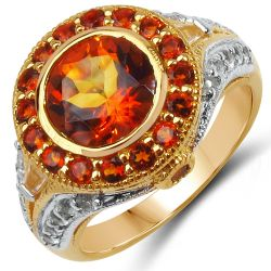 14K Yellow Gold Plated 3.65 Carat Genuine Citrine & White Topaz .925 Sterling Silver Ring
