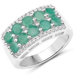 1.85 Carat Genuine Emerald and White Topaz .925 Sterling Silver Ring