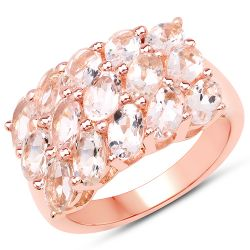 14K Rose Gold Plated 3.30 Carat Genuine Morganite .925 Sterling Silver Ring