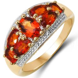 14K Yellow Gold Plated 1.96 Carat Genuine Citrine & White Topaz .925 Sterling Silver Ring