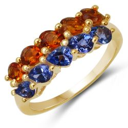 14K Yellow Gold Plated 1.60 Carat Genuine Tanzanite & Citrine .925 Sterling Silver Ring