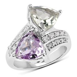 5.00 Carat Genuine Pink Amethyst, Green Amethyst and White Topaz .925 Sterling Silver Ring