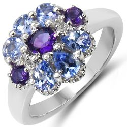 1.25 Carat Genuine Tanzanite, Amethyst & White Topaz .925 Sterling Silver Ring