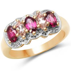 14K Yellow Gold Plated 1.16 Carat Genuine Morganite & Rhodolite .925 Sterling Silver Ring