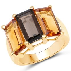 14K Yellow Gold Plated 8.14 Carat Genuine Smoky Quartz, Citrine and Champagne Quartz .925 Sterling Silver Ring