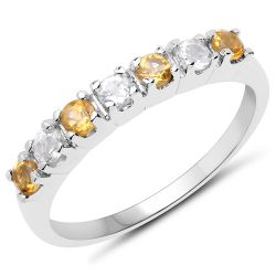 0.50 Carat Genuine Citrine and White Topaz .925 Sterling Silver Ring