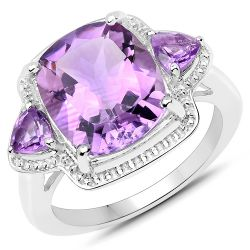 6.70 Carat Genuine Amethyst .925 Sterling Silver Ring