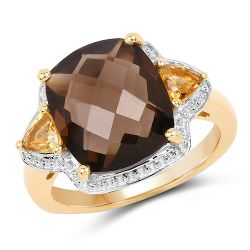 14K Yellow Gold Plated 5.95 Carat Genuine Smoky Quartz and Citrine .925 Sterling Silver Ring