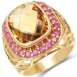 18K Yellow Gold Plated 6.35 Carat Genuine Citrine & Ruby .925 Sterling Silver Ring