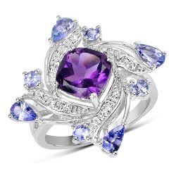 """3.04 Carat Genuine Amethyst, Tanzanite & White Topaz .925 Sterling Silver Ring"""