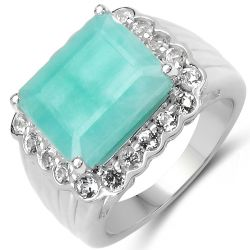 7.85 Carat Genuine Emerald & White Topaz .925 Sterling Silver Ring