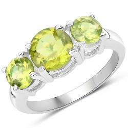 2.27 Carat Genuine Peridot .925 Sterling Silver Ring