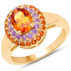 14K Yellow Gold Plated 1.70 Carat Genuine Citrine and Amethyst .925 Sterling Silver Ring