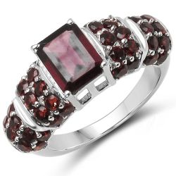 3.20 Carat Genuine Rhodolite & Garnet .925 Sterling Silver Ring