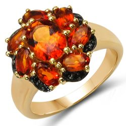 18K Yellow Gold Plated 3.06 Carat Genuine Citrine & Black Spinel .925 Sterling Silver Ring