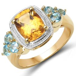 18K Yellow Gold Plated 2.37 Carat Genuine Citrine & Blue Topaz .925 Sterling Silver Ring